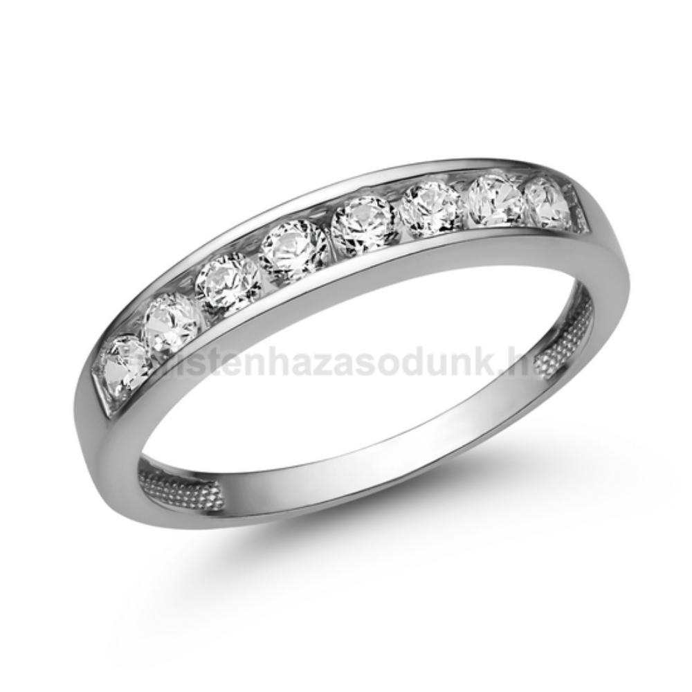 E330FC - CIRKÓNIA köves fehér arany Eljegyzési Gyűrű