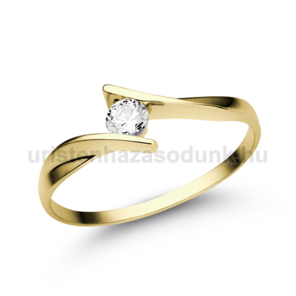 d6d63afecc E333SC - CIRKÓNIA köves sárga arany Eljegyzési Gyűrű - Csavart ...