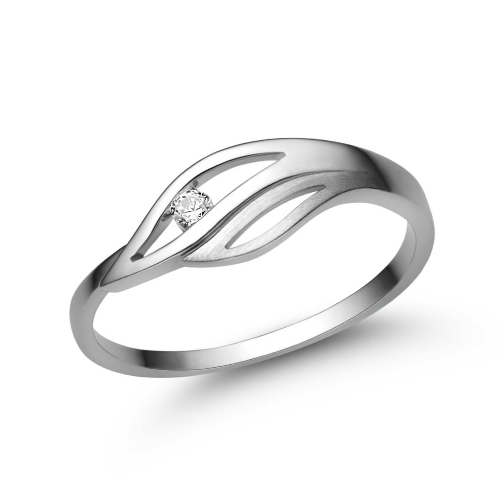 E335FC - CIRKÓNIA köves fehér arany Eljegyzési Gyűrű
