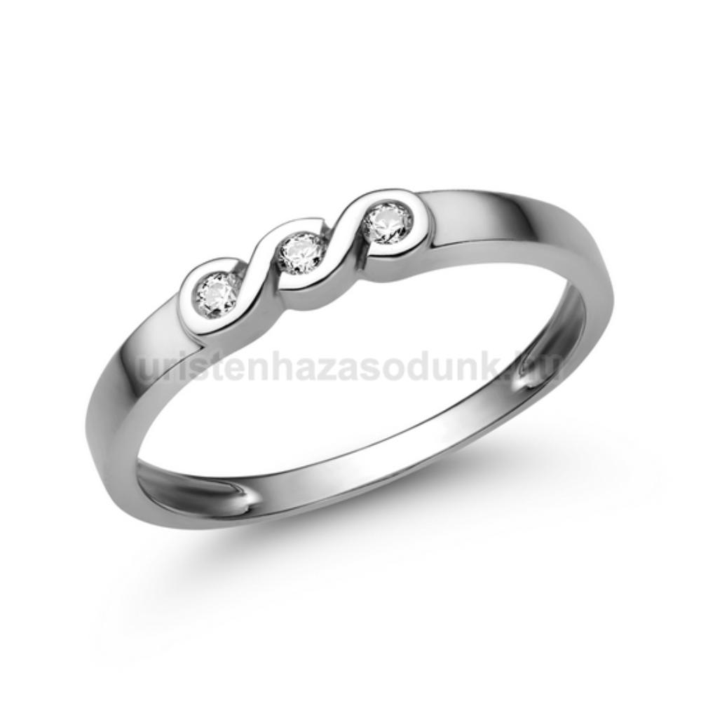 E338FZF_B - FEHÉR ZAFÍR - GYÉMÁNT KÖVES Eljegyzési gyűrű