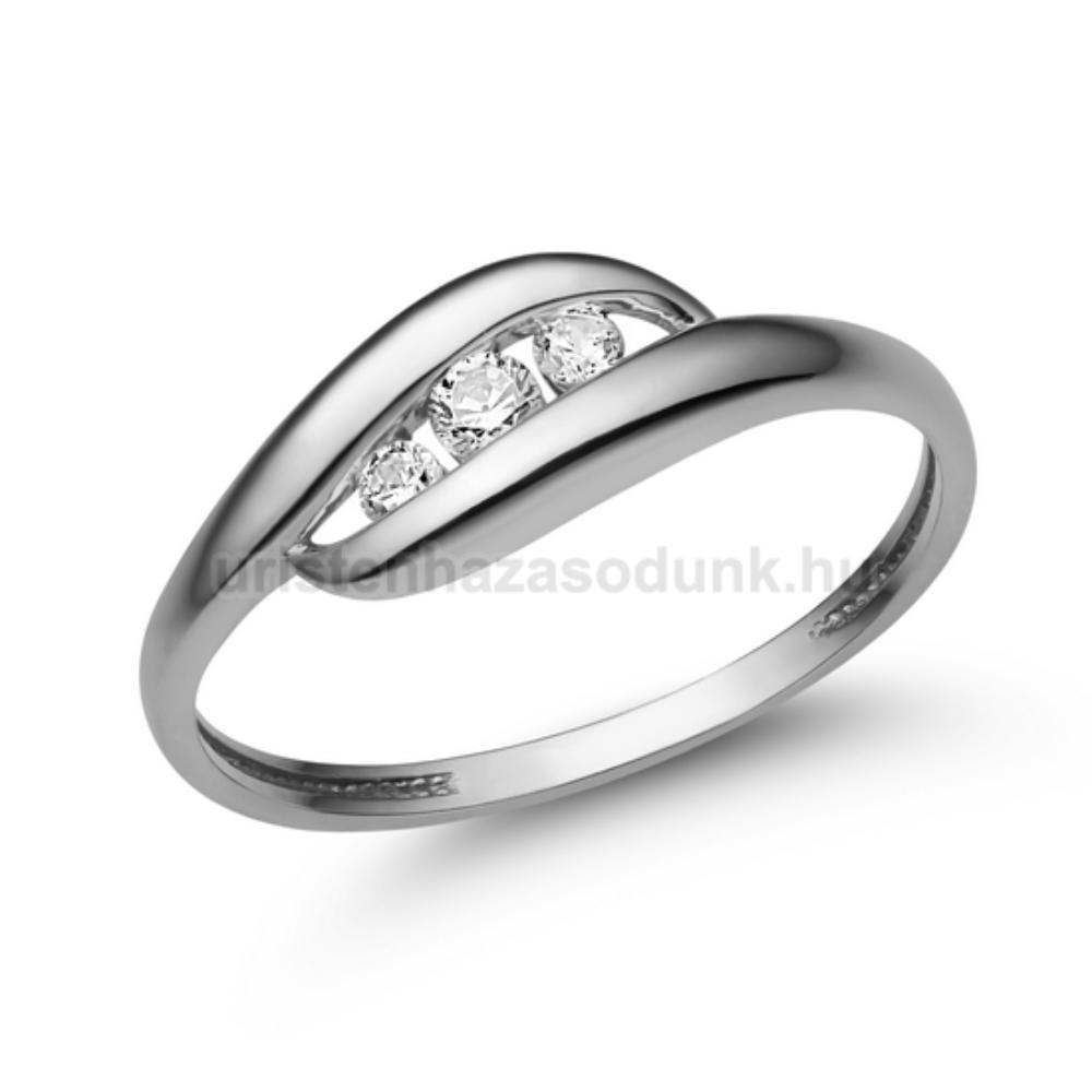 E340FC - CIRKÓNIA köves fehér arany Eljegyzési Gyűrű