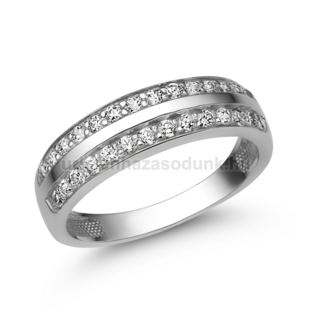 E341FC - CIRKÓNIA köves fehér arany Eljegyzési Gyűrű