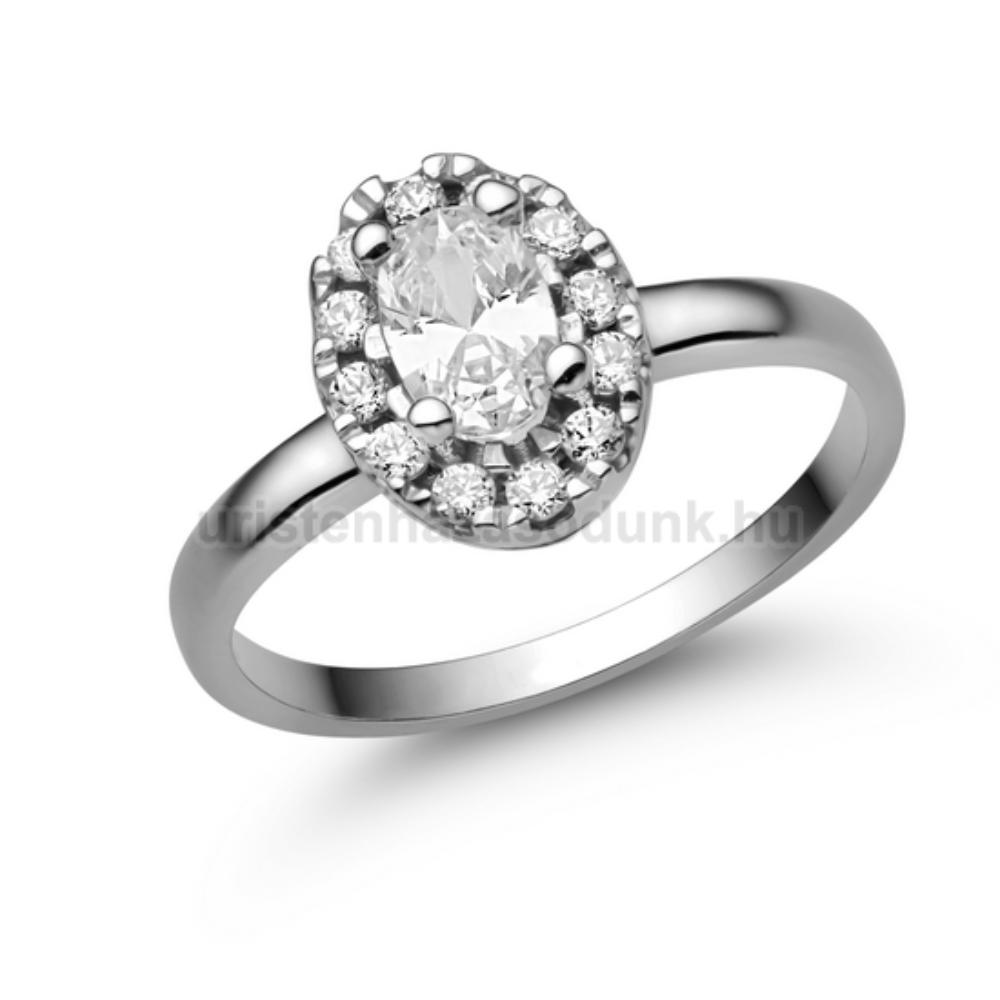 E348FC - CIRKÓNIA köves fehér arany Eljegyzési Gyűrű