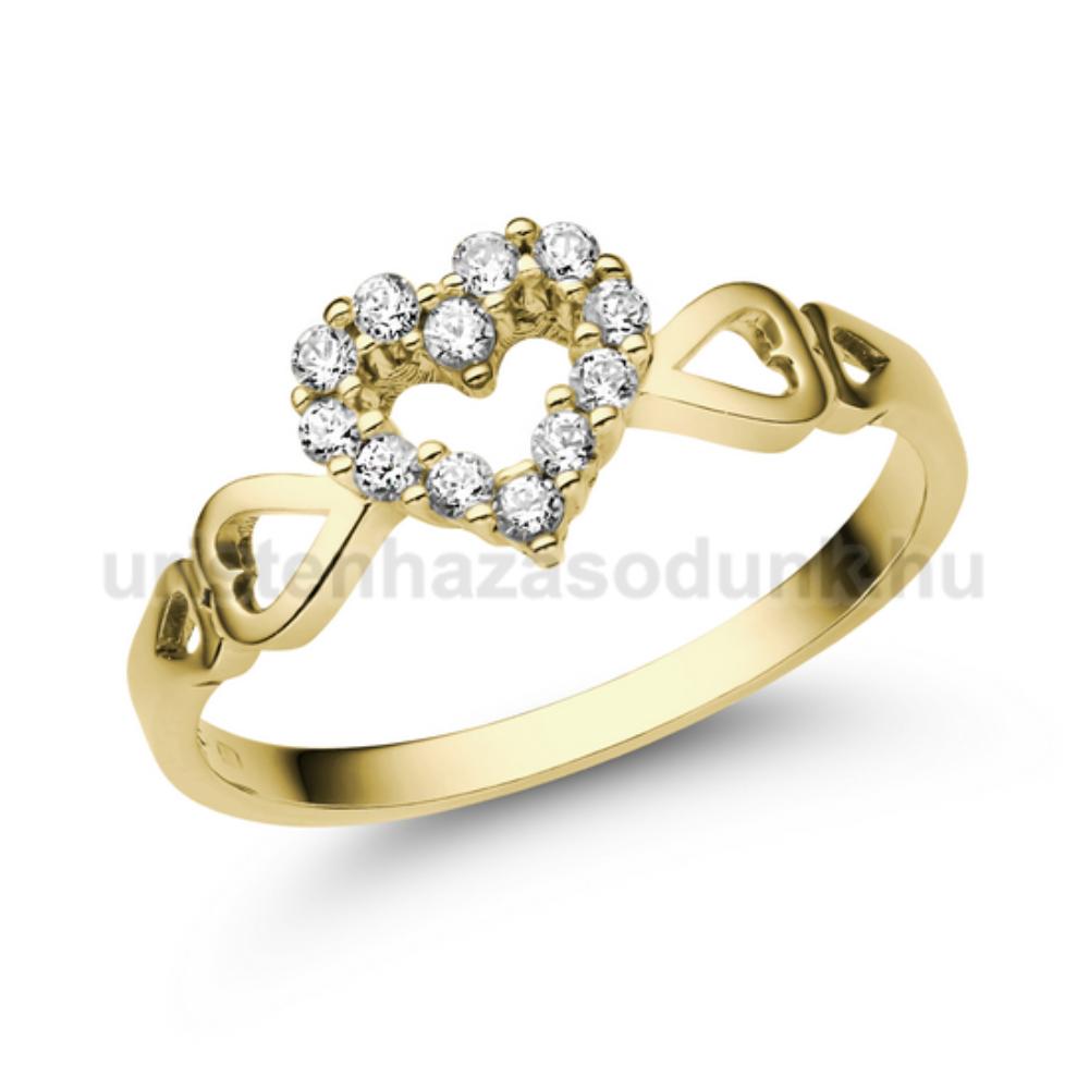 E351SC - CIRKÓNIA köves sárga arany Eljegyzési Gyűrű