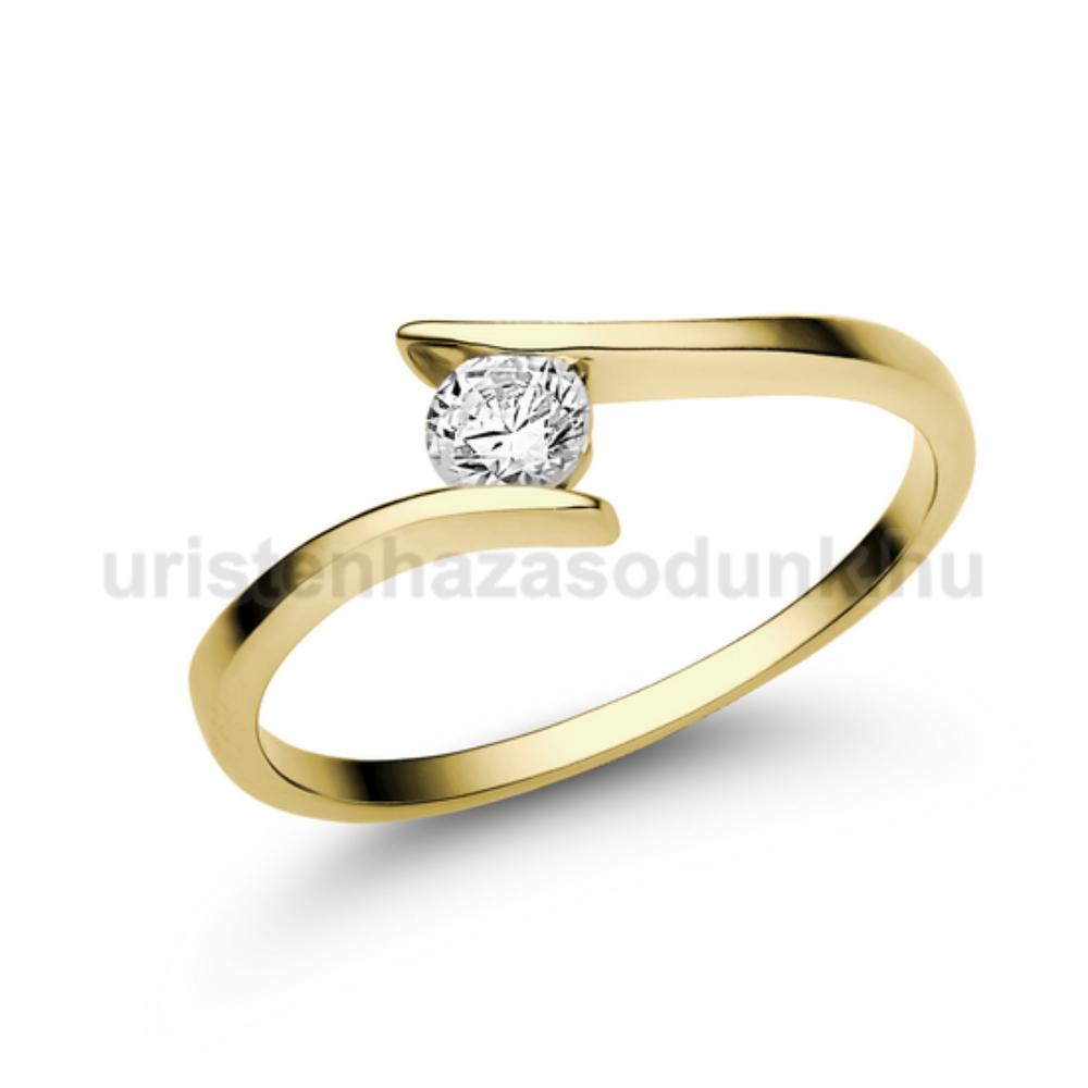 E3SC - CIRKÓNIA köves sárga arany Eljegyzési Gyűrű