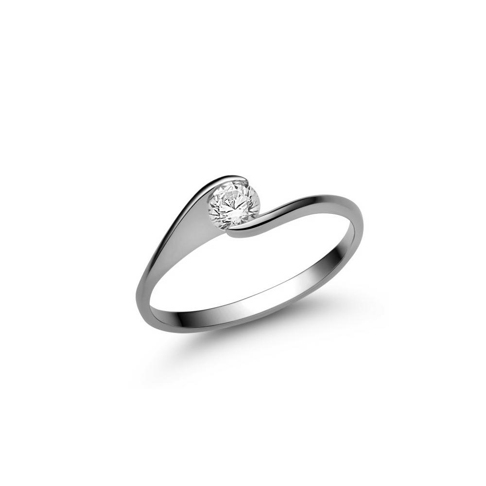 E4FC - CIRKÓNIA köves fehér arany Eljegyzési Gyűrű