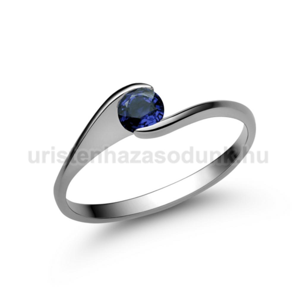 E4FZK - KÉK ZAFÍR köves fehér arany Eljegyzési Gyűrű