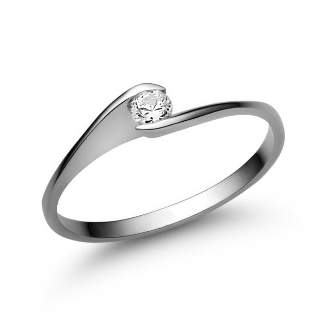 E5FC - CIRKÓNIA köves fehér arany Eljegyzési Gyűrű