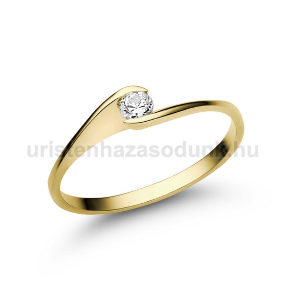 E5SC - CIRKÓNIA köves sárga arany Eljegyzési Gyűrű