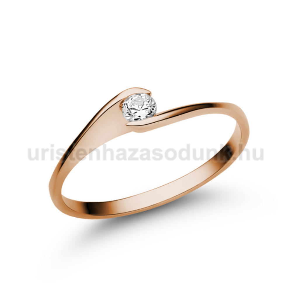 E5RC - CIRKÓNIA köves rozé arany Eljegyzési Gyűrű