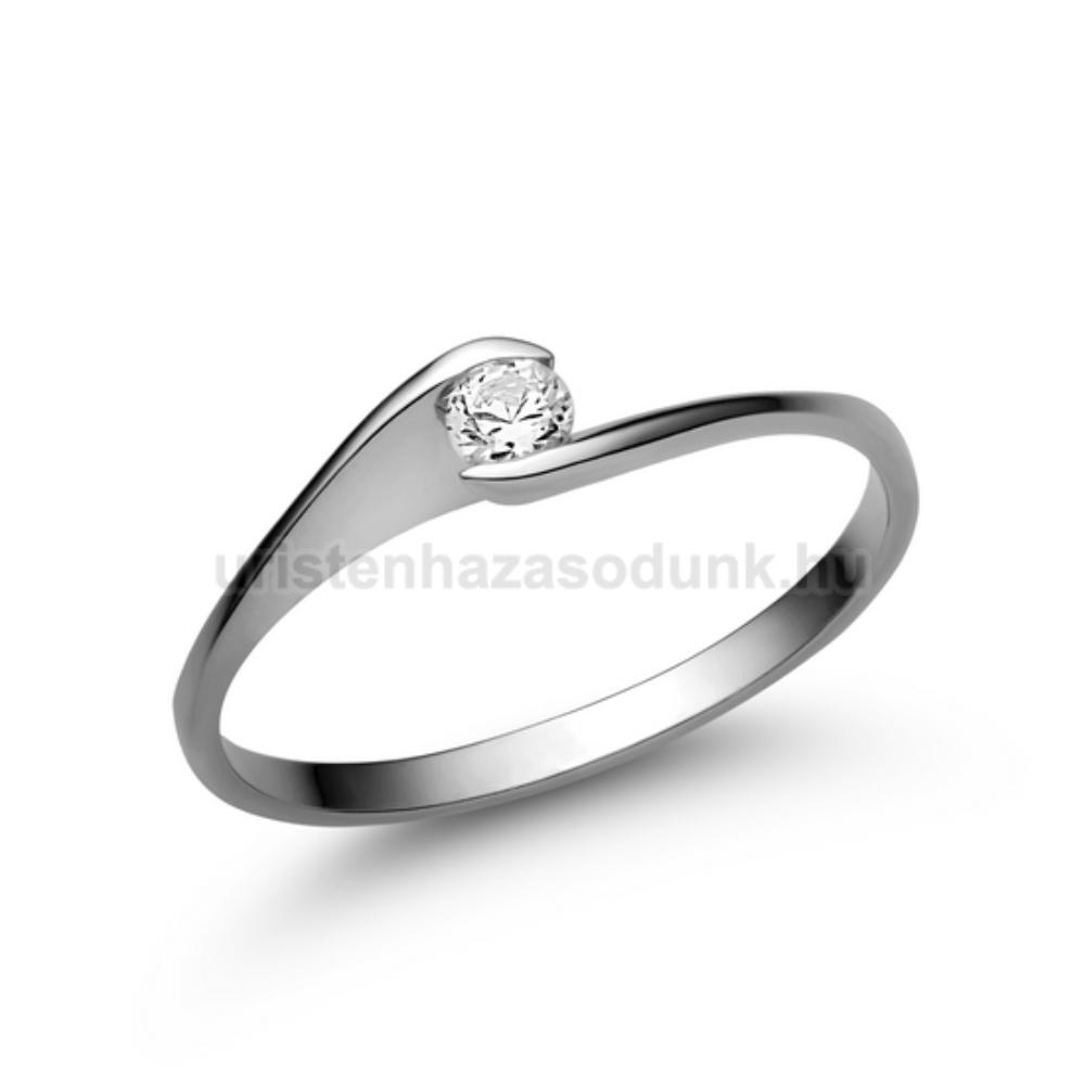 E5FZF - FEHÉR ZAFÍR köves fehér arany Eljegyzési Gyűrű
