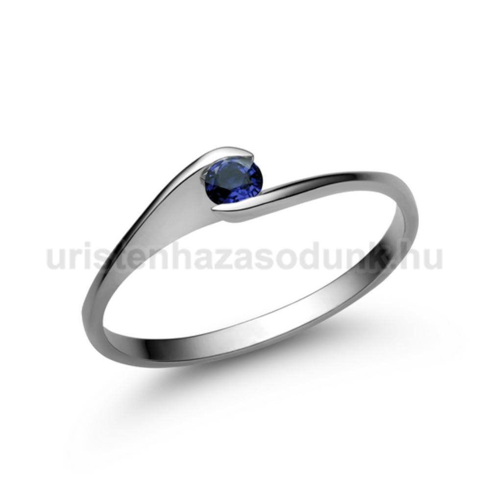E5FZK - KÉK ZAFÍR köves fehér arany Eljegyzési Gyűrű
