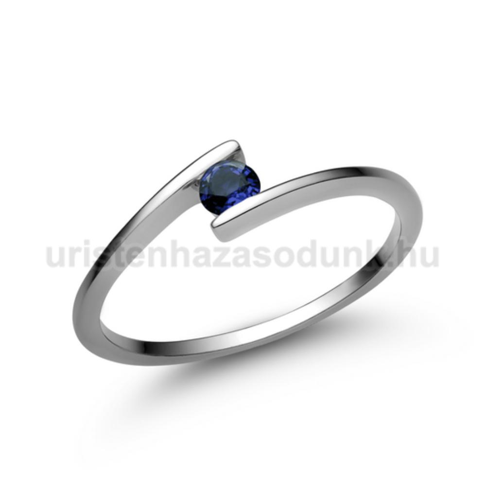 E7FZK - KÉK ZAFÍR köves fehér arany Eljegyzési Gyűrű
