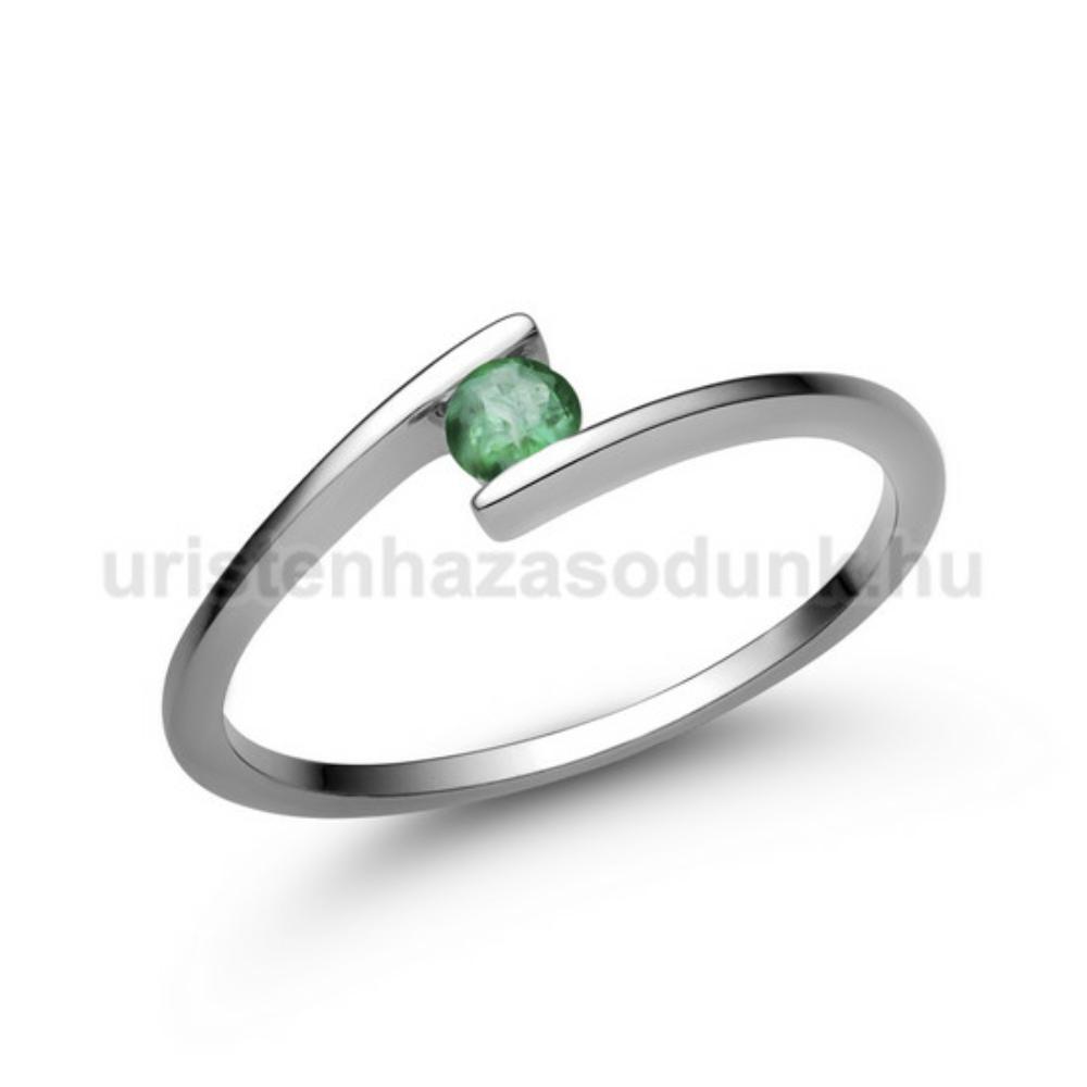 E7FS - SMARAGD köves fehér arany Eljegyzési Gyűrű