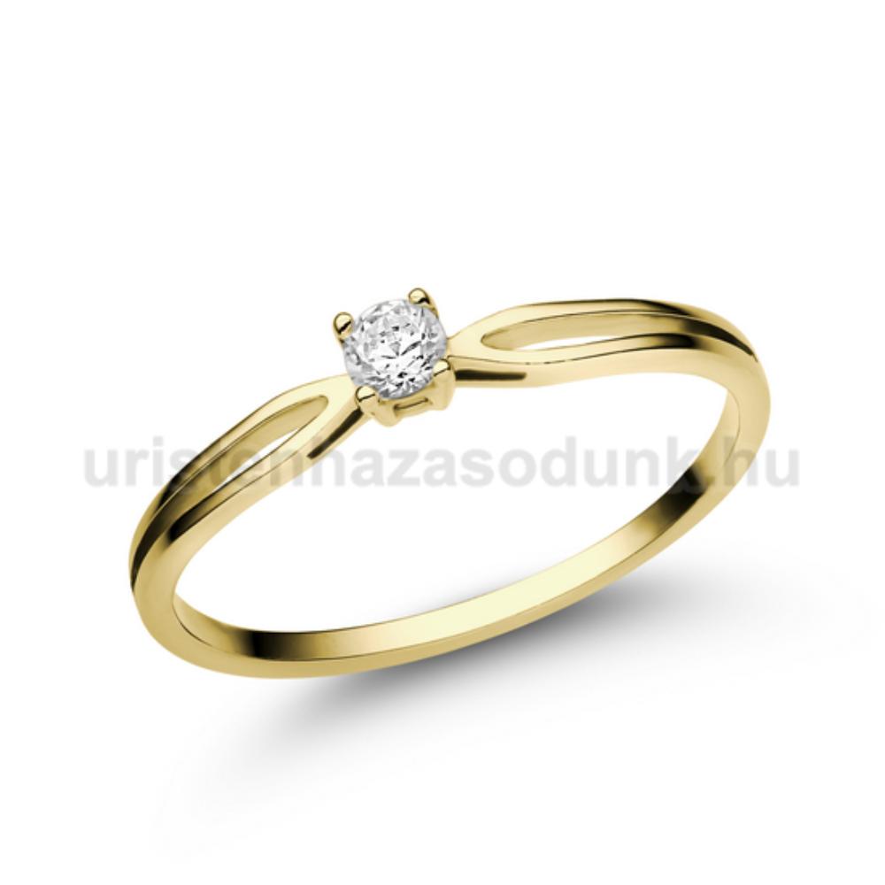 E8SC - CIRKÓNIA köves sárga arany Eljegyzési Gyűrű