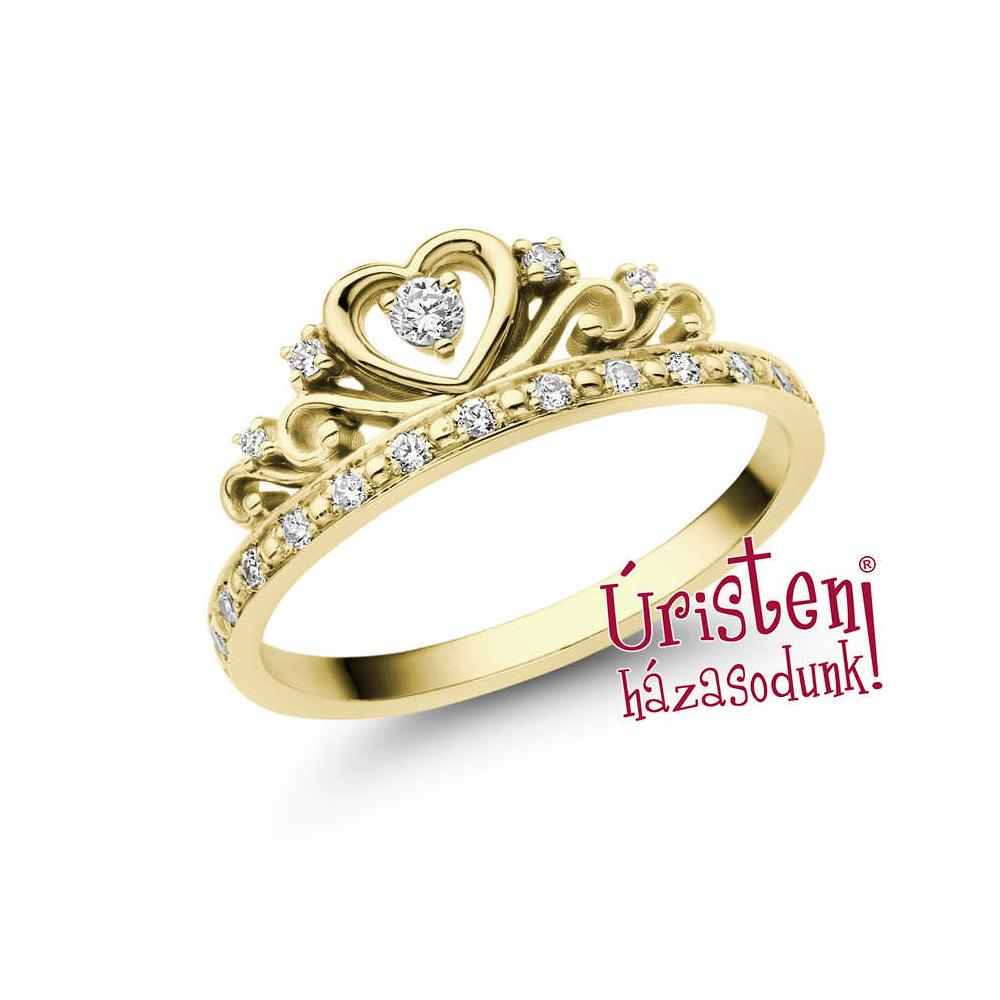 E903SC - CIRKÓNIA köves sárga arany Eljegyzési Gyűrű