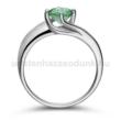 E19FS - SMARAGD köves fehér arany Eljegyzési Gyűrű