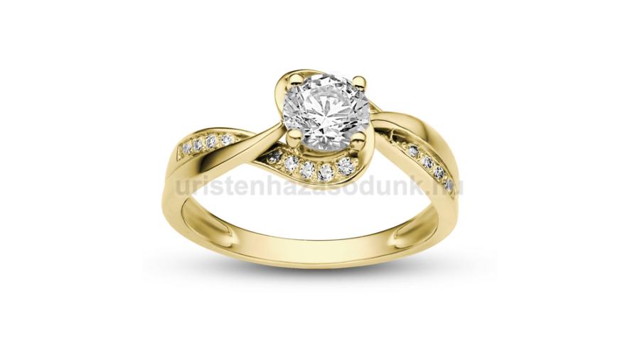 f95dda18f8 E108SC - CIRKÓNIA köves sárga arany Eljegyzési Gyűrű - Exkluzív ...